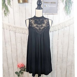 BigStrikeUSA midi black dress lace top sleevless